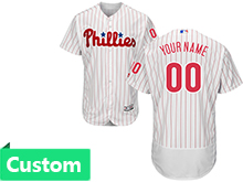 Mens Mlb Philadephia Phillies (custom Made) White Stripe Flex Base Jersey