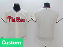 Mens Mlb Philadephia Phillies (custom Made) Cream Flex Base Jersey