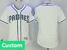 Mens Majestic Mlb San Diego Padres Custom Made White Flex Base Jersey