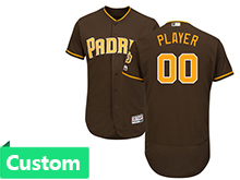 Mens Majestic Mlb San Diego Padres Custom Made Brown Flex Base Jersey