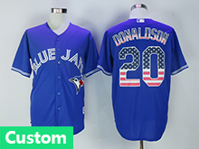 Mens Majestic Toronto Blue Jays (custom Made) Blue Usa Flag Jersey