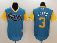 Mens Majestic Tampa Bay Rays #3 Evan Longoria Light Blue 2017 Players Weekend Jersey