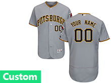 Mens Majestic Pittsburgh Pirates (custom Made) Gray Flex Base Jersey