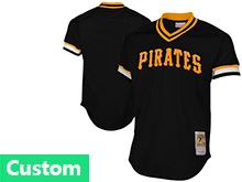 Mens Mlb Pittsburgh Pirates (custom Made) Black Throwbacks Pullover White Jersey