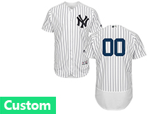 Mens Majestic New York Yankees Custom Made White Stripe Flex Base Jersey