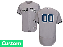 Mens Majestic New York Yankees Custom Made Gray Flex Base Jersey