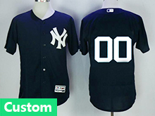 Mens Majestic New York Yankees Custom Made Blue Flex Base Jersey