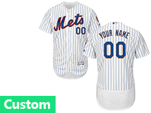 Mens Mlb New York Mets (custom Made) White Stripe Flex Base Jersey