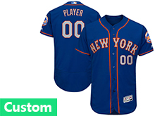 Mens Majestic New York Mets (custom Made) Blue Flex Base Jersey