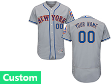Mens Majestic New York Mets Custom Made Gray Flex Base Jersey