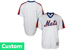 Mens Mlb New York Mets Custom Made White Stripe Pullover Throwbacks Jersey