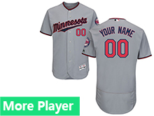 Mens Majestic Minnesota Twins Gray Flex Base Current Player Jersey