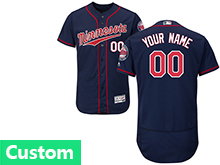 Mens Mlb Minnesota Twins Custom Made Blue Flex Base Jersey