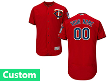 Mens Mlb Minnesota Twins Custom Made Red Flex Base Jersey