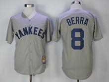 Mens Mlb New York Yankees #8 Yogi Berra Gray Throwbacks Cool Base Jersey