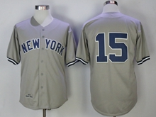 Mens Mlb New York Yankees #15 Thurman Munson Gray Throwbacks Cool Base Jersey(no Name)