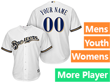 Mens Womens Youth Majestic Milwaukee Brewers White Cool Base Current Player Jersey