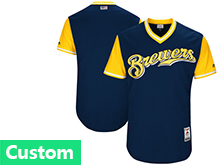 Mens Mlb Milwaukee Brewers Custom Made Dark Blue 2017 Players Weekend Jersey
