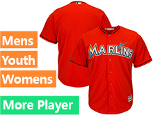 Mens Womens Youth Majestic Miami Marlins Orange Cool Base Current Player Jersey