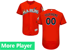 Mens Majestic Miami Marlins Orange Flex Base Current Player Jersey
