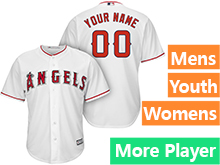 Mens Womens Youth Majestic Los Angeles Angels White Cool Base Current Player Jersey