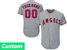 Mens Mlb Los Angeles Angels Custom Made Gray Flex Base Jersey