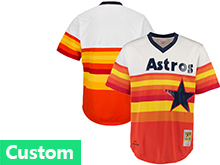 Mens Mlb Majestic Houston Astros Custom Made Iridescent Throwbacks Pullover Jersey