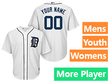 Mens Womens Youth Majestic Detroit Tigers White Cool Base Current Player Jersey