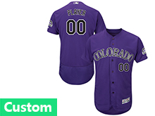Mens Majestic Colorado Rockies (custom Made) Purple Flex Base Jersey