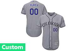 Mens Majestic Colorado Rockies (custom Made) Gray Flex Base Jersey