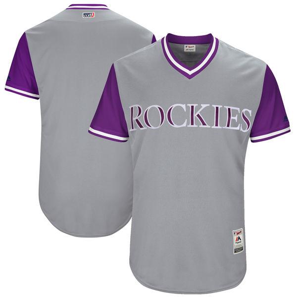 Mens Majestic Colorado Rockies Custom Made Gray 2017 Players Weekend Jersey