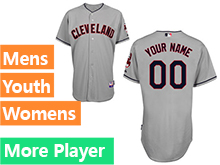 Mens Womens Youth Majestic Cleveland Indians Gray Cool Base Current Player Jersey
