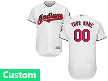 Mens Majestic Cleveland Indians Custom Made White Flex Base Jersey
