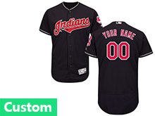 Mens Majestic Cleveland Indians Custom Made Navy Blue Flex Base Jersey