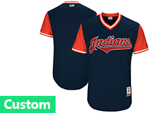 Mens Majestic Cleveland Indians Custom Made Navy 2017 Players Weekend Jersey