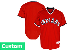Mens Mlb Cleveland Indians Custom Made Red Pullover Jersey
