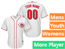 Mens Womens Youth Majestic Cincinnati Reds White Cool Base Current Player Jersey