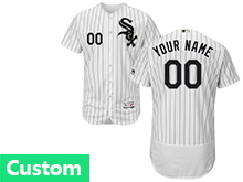 Mens Majestic Chicago White Sox Custom Made White Stripe Flex Base Jersey