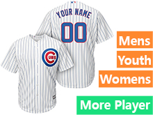 Mens Women Youth Majestic Chicago Cubs White Stripe Cool Base Current Player Jersey