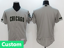 Mens Majestic Mlb Chicago Cubs Custom Made Grey 2017 Memorial Day Flex Base Jersey