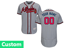 Mens Majestic Atlanta Braves Custom Made Gray Flex Base Jersey