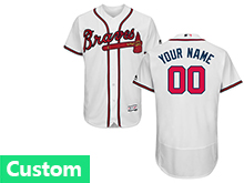 Mens Majestic Atlanta Braves Custom Made White Flex Base Jersey