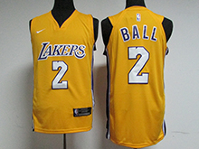 Mens Nba Los Angeles Lakers #2 Lonzo Ball Gold Nike Jersey