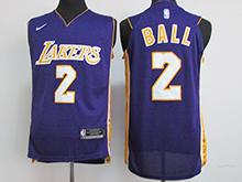 Mens Nba Los Angeles Lakers #2 Lonzo Ball Pruple Nike Jersey