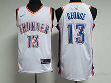 Mens Nba Oklahoma City Thunder #13 Paul George White Nike Jersey