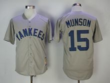 Mens Mlb New York Yankees #15 Thurman Munson Gray Throwbacks Cool Base Jersey