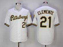 Mens Majestic Pittsburgh Pirates #21 Roberto Clemente White Throwback Cool Base Jersey