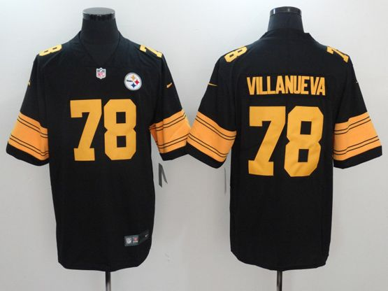 Mens Pittsburgh Steelers #78 Alejandro Villanueva Black Color Rush Limited Jersey
