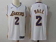 Mens Nba Los Angeles Lakers #2 Lonzo Ball White Nike Jersey