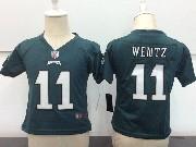 Kids Nfl Philadelphia Eagles #11 Carson Wentz Dark Green Game Jersey